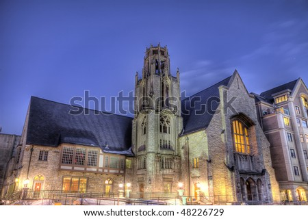 High Dynamic Range (HDR) image of church at dusk