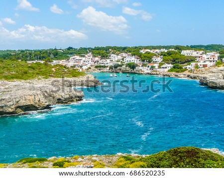 High dynamic range (HDR) View of Punta Prima in the island of Minorca, Spain Stockfoto ©