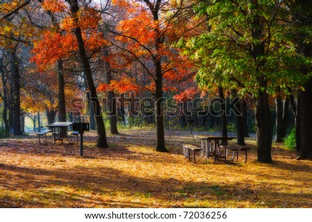 High Dynamic Range image of a campsite and picnic area. - stock photo