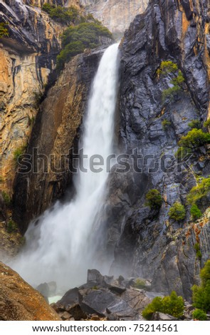 High dynamic range image of lower Yosemite falls with a powerful spring water flow