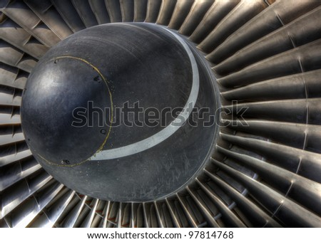 High dynamic range image of the inlet turbo vanes of a jet engine