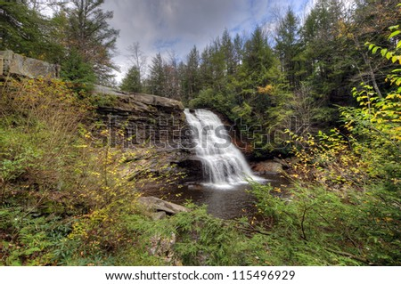 High Dynamic Range landscape of Muddy Falls in Maryland during Autumn in the Appalachian Mountains