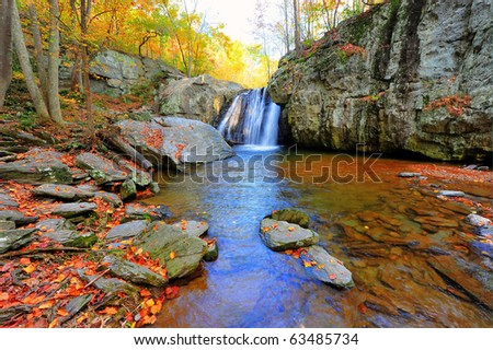 High Dynamic Range landscape photo of Kilgore waterfall on an Autumn day in Maryland