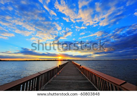 High Dynamic Range photo of Fishing pier on the Chesapeake Bay, Maryland at sunset