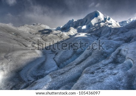 High dynamic range photograph from minitrekking on the south side of Perito Moreno glacier in Los glaciares National Park in Patagonia, Argentina