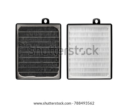 High efficiency air filter for HVAC system. Isolated on white background. filter in a vacuum cleaner. new and used filter #788493562