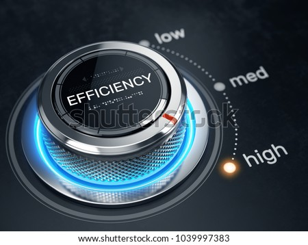 High Efficiency level concept - Efficiency level control button on high position. 3d rendering