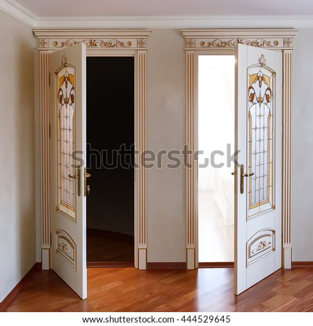 High end luxury furniture two open door in the interior High end front doors