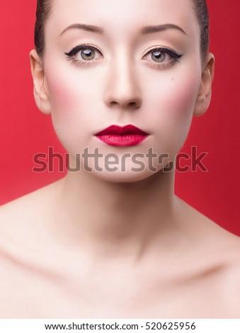 High fashion Asian retro look. Glamour closeup portrait of beautiful  caucasian young brunette woman model 190ca3ab8f5c