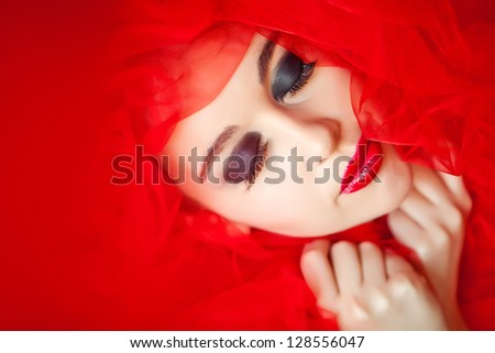 High fashion look.glamour portrait of beautiful sexy young female woman with red lips