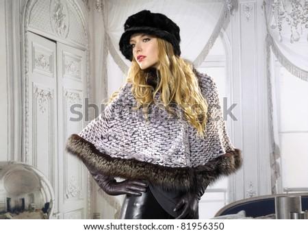High fashion model in modern dress posing