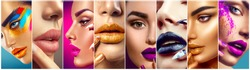 High Fashion model make up collage. Beauty makeup artist ideas. Colorful lips, eyes, eyeshadows and nail art. Beautiful women parts of face. Vivid bright make-up, lipstick, nailpolish for party.