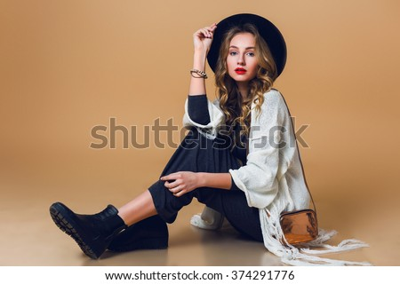high fashion portrait of young...