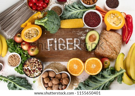 High Fiber Foods. Healthy balanced dieting concept. Top view ストックフォト ©