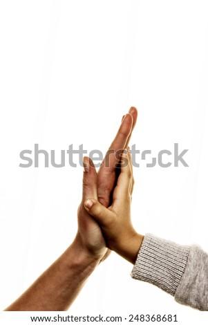 high five gesture, symbol for success, security, closeness, trust