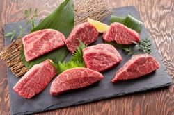 High-grade beef steak with 7 different parts to choose from