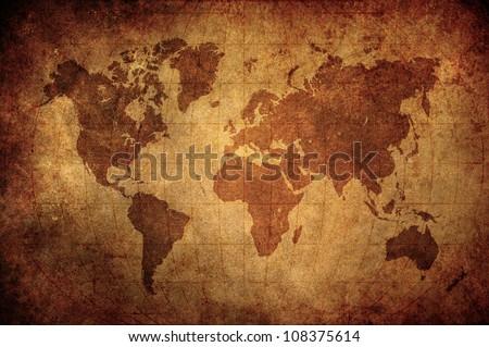 high grunge zinc world map with Latitude and Longitude lines