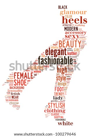 high heel info-text graphics and arrangement concept (word cloud)