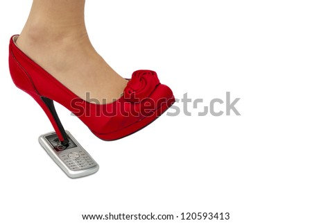 high heel kicking through cellphone