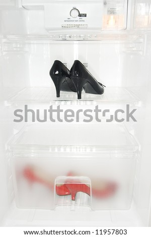 High Heel Shoes in fridge