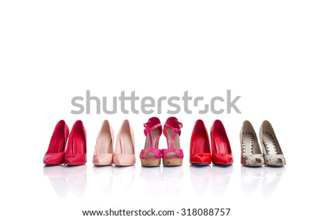 High heel shoes isolated on white background #318088757