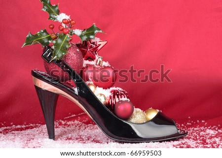 High heel shoes with Christmas decorations closeup