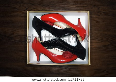 High heels in a shoebox