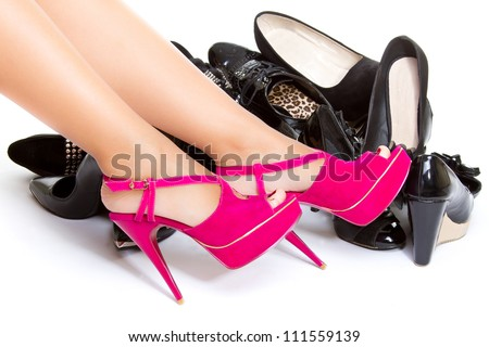 High heels in different colors, womens leg, girls leg, female foot