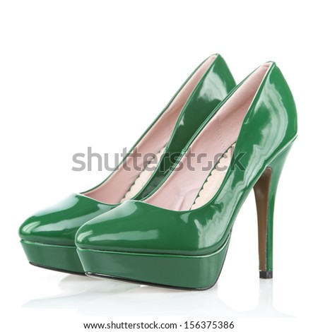 High Heels shoes with platform sole, green patent leather  #156375386