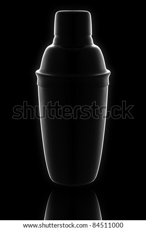 High impact image of a cocktail shaker with reflection on black, with a slight glow
