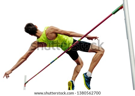 high jump male athlete successful attempt isolated