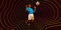 High jumping. Male soccer, football player training in action. Neoned modern artwork, cover, flyer designed with orange-red lines, waves. Concept of motion, action, ahievements, healthy lifestyle