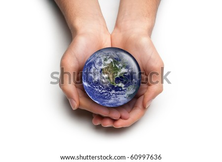 High key concept for global environmental care. Isolated on white. Image public domain http://visibleearth.nasa.gov/