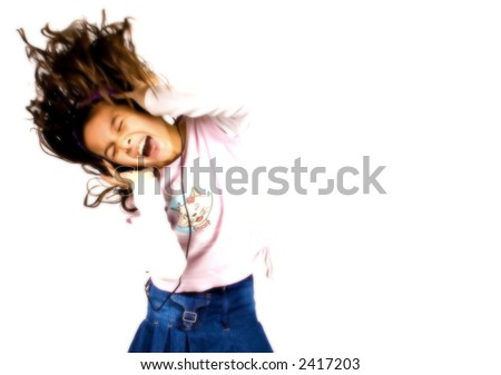HIGH KEY image of carefree young girl enjoying her dance and music through the headphone , rendered with soft effect, isolated on white