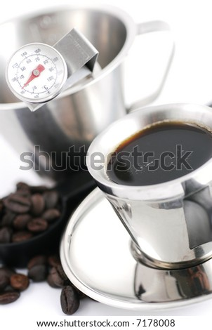 High Key Mood shot of Still life composition of Coffee making tools & cup. Intentional Selective focus to capture the mood.