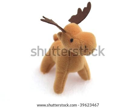 High key picture of Christmas moose deer in snow