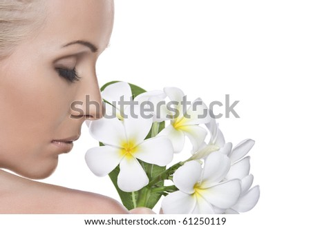 High key portrait of young beautiful woman  on white background