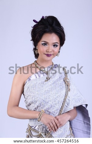 a34b86188 High Lady wearing traditional Thai dress with identity Southeast Asia  culture Sawasdee, Welcome expression,