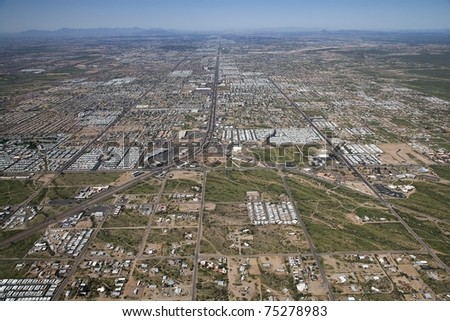 High level aerial perspective of the Valley of the Sun - stock photo