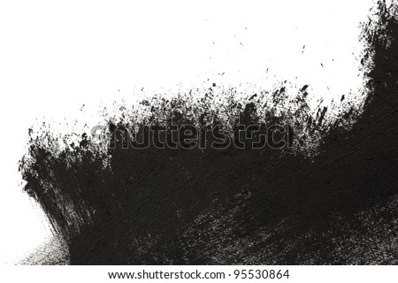 Photo of  High magnification brush stroke texture. Black paint, isolated on white.