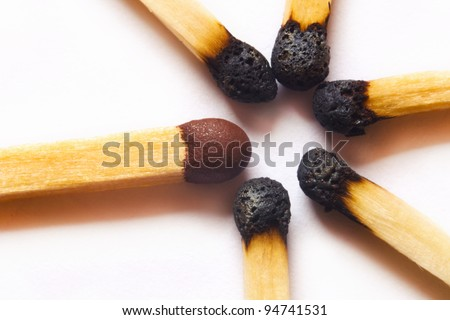 High magnification macro photo of single match standing out against group of used, burned matches.