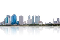 high modern building city isolated on white background clipping path nearby the park in central city at morning with reflection.