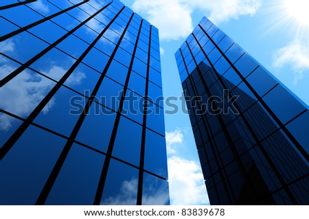 High modern skyscrapers on blue sky