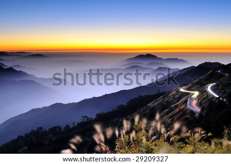high mountain at dawn - stock photo