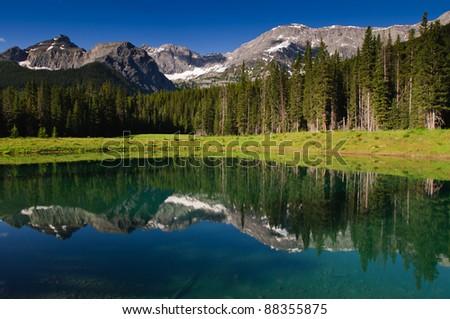 High mountain lake in the summertime, Kananaskis Alberta Canada