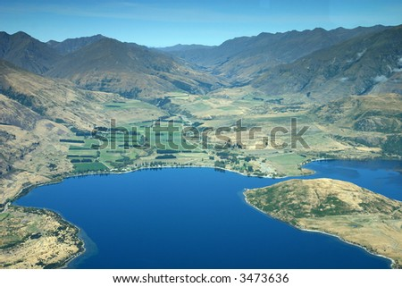 High mountain range and lake  – New Zealand - Southern Alps