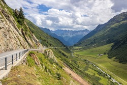 High mountain road through the Susten Pass in the Swiss Alps