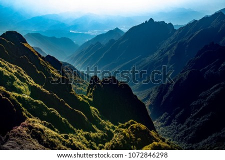 high mountain scene of fansifan peak  in sapa town laocai province northern of vietnam #1072846298