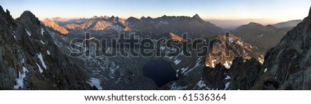 High mountain sunset panorama landscape #61536364