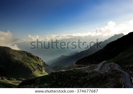 High mountain valley and rock field  in Northern India. #374677687